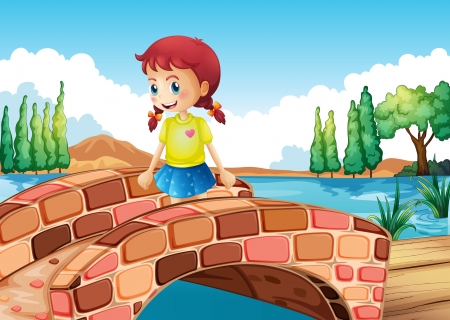 Illustration of a girl crossing the bridge  Vector