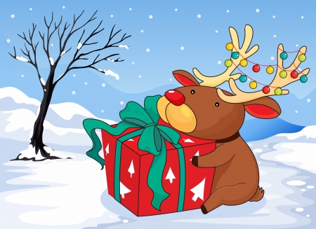 Illustration of a reindeer holding a gift Stock Vector - 20517636