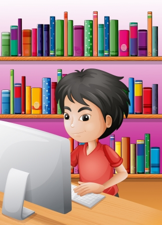 Illustration of a boy playing computer in front of the shelves with books Stock Vector - 20518309
