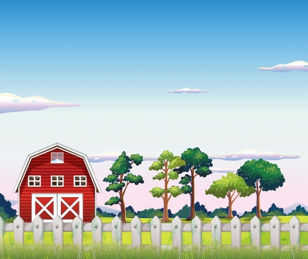 Illustration of a red barnhouse inside the fence Vector