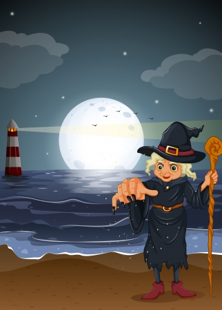 Illustration of an old witch holding a stick at the beach Vector