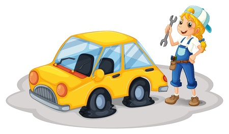 replacing: Illustration of a girl repairing a yellow car with flat tires on a white background