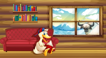 Illustration of a duck reading near the sofa Stock Vector - 20518236