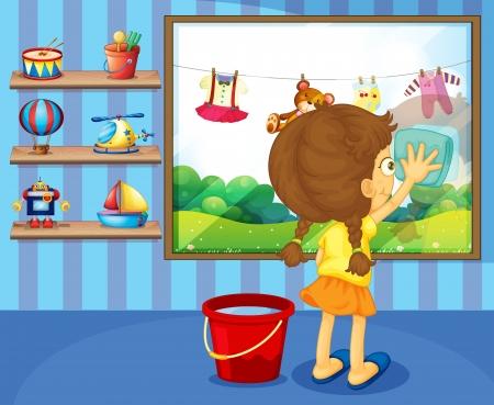 hanging woman: Illustrazione di una ragazza di pulizia riquadro sua finestra