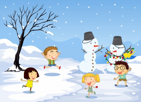 Illustration of the children playing in the snow Vector