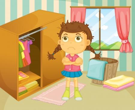 v�tements pli�s: Illustration d'une jeune fille avec un bad hair day Illustration