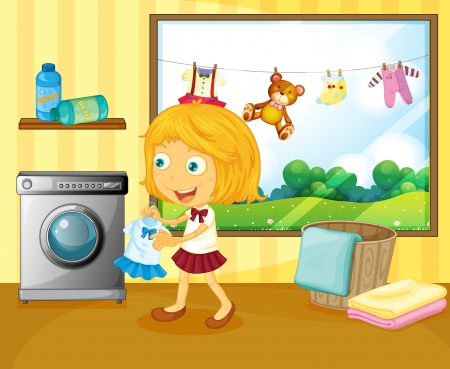 dry grass: Illustration of a girl washing her clothes Illustration