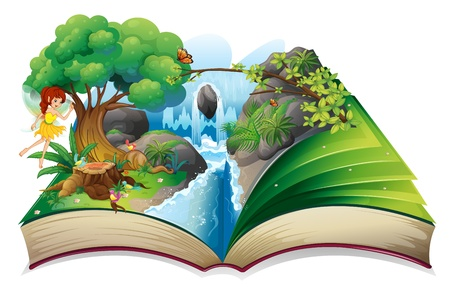 enchanted forest: Illustration of an enchanted book on a white background Illustration