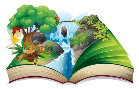 fairy story: Illustrazione di un libro incantato su uno sfondo bianco Vettoriali