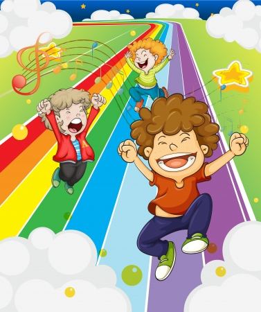 victorious: Illustration of the happy children at the colorful road