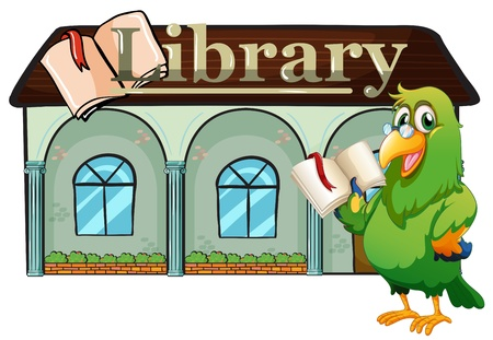 Illustration of an owl holding a book outside the library  on a white background  Vector