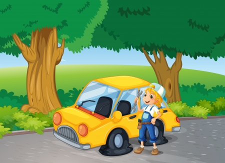 replacing: Illustration of a girl fixing the yellow car near the big trees Illustration