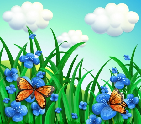 garden scenery: Illustration of the garden with blue flowers and orange butterflies