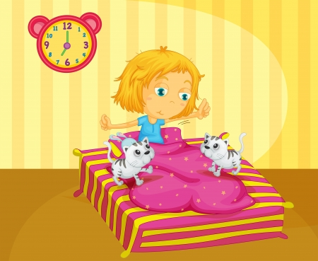Illustration of a girl waking up at the bed with two kittens