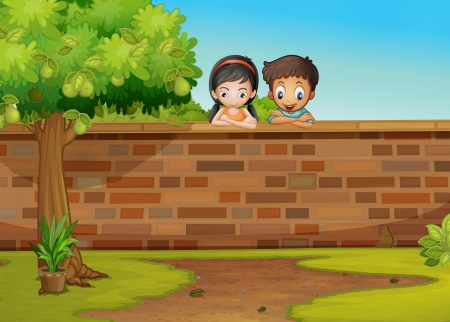 Illustration of a girl and a boy leaning over the concrete fence