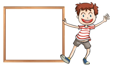 Illustration of a young boy holding a framed signage on a white background Stock Vector - 20517640