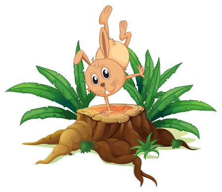 Illustration of a bunny on a stump with leaves on a white background  Stock Vector - 20518200