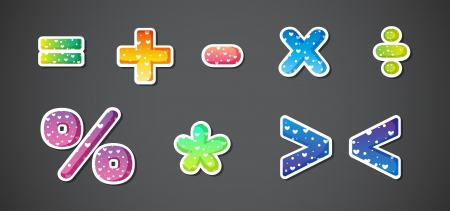 division: Illustration of the colorful signs and symbols on a gray background