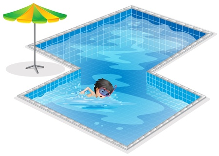 Illustration of a pool with a kid swimming on a white background Vector