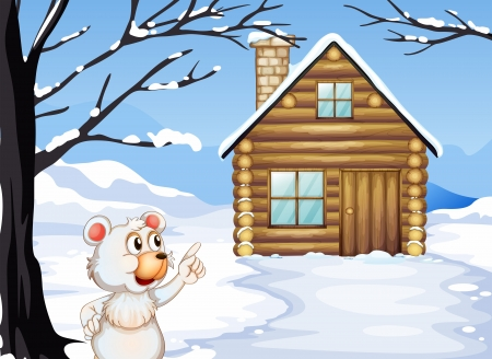 Illustration of a young bear outside the wooden house Stock Vector - 20518268