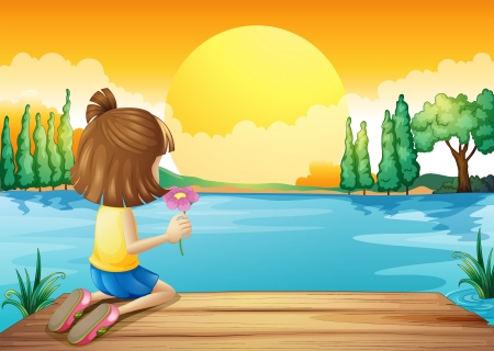 Illustration of a girl holding a flower facing at the river Vector
