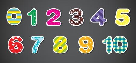 Illustration of the colorful numerical figures on a gray background Vector