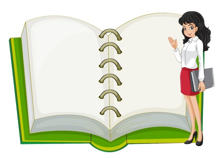 Illustration of a teacher and a blank notebook on a white background Vector