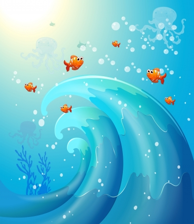 Illustration of the fishes under the sea  Stock Vector - 20518253