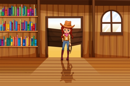 wooden shelves: Illustration of a cowgirl holding a rope beside the three wooden shelves with books