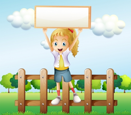 Illustration of a girl holding an empty frame standing above the fence  Vector
