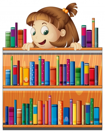 storyteller: Illustrayion of a playful young girl in the library on a white background