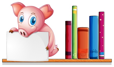 Illustration of a pig above a shelf holding an empty signboard on a white background Stock Vector - 20517787
