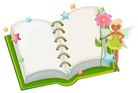 Illustration of an open book with a fairy holding a pink flower on a white background  Vector