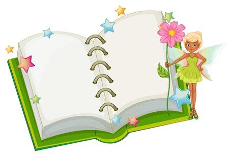 libro de cuentos: Ilustraci�n de un libro abierto con un hada que sostiene una flor de color rosa sobre fondo blanco