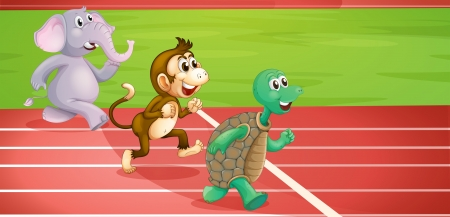 Illustration of a turtle, a monkey and an elephant running  Vector