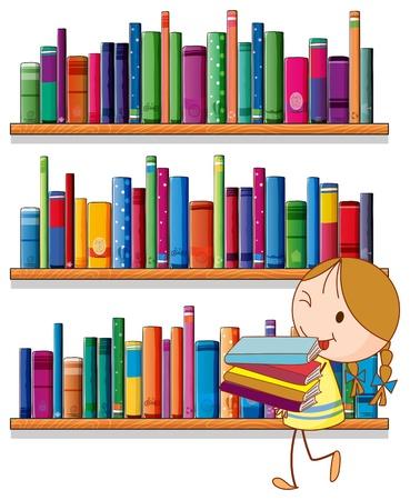 Illustratie van een klein meisje in de bibliotheek op een witte achtergrond Vector Illustratie