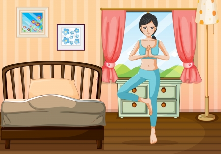 Illustration of a girl doing yoga near her bedroom Stock Vector - 20517745