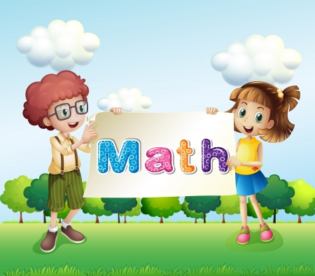 Illustration of a girl and a boy holding a math signage