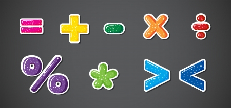 division: Illustration of the colorful signs and symbols Illustration