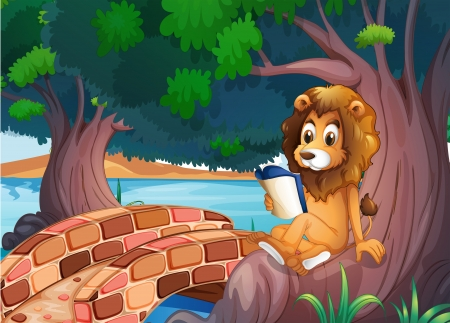 Illustration of a lion reading a book above the root of a big tree Vector