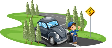 Illustration of a boy repairing a gray car on a white background Stock Vector - 20517750