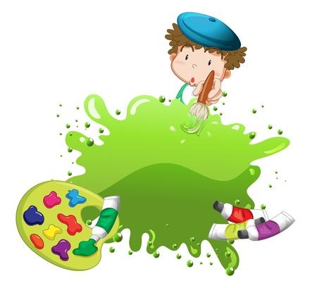 niños dibujando: Ilustración de un niño de la pintura sobre un fondo blanco Vectores