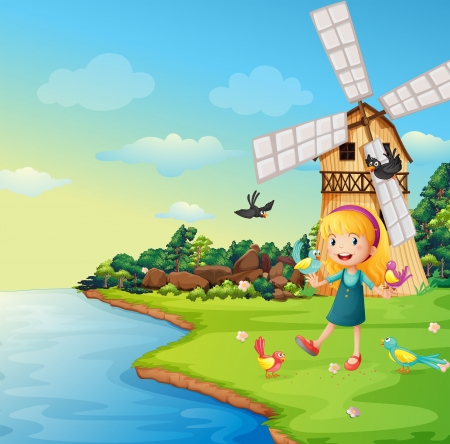 Illustration of a girl playing with her birds near the barnhouse with windmill Vector