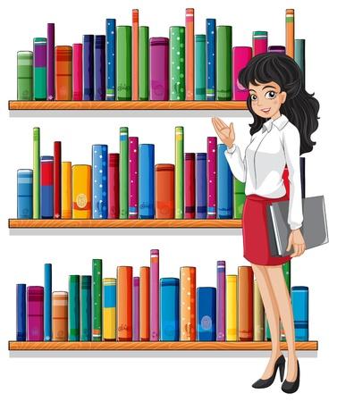 libro de cuentos: Ilustraci�n de una mujer joven en la biblioteca sobre un fondo blanco