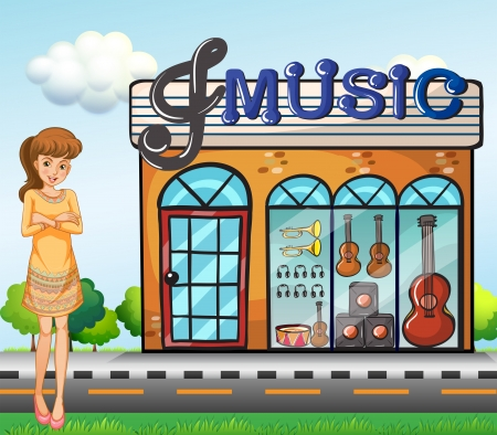 Illustration of a girl near the music shop Vector