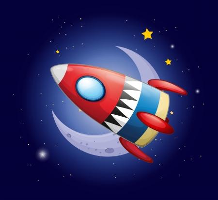 meteorites: Illustration of a spaceship near the moon Illustration