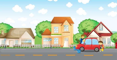 Illustration of a boy helping his father cleaning the car Vector