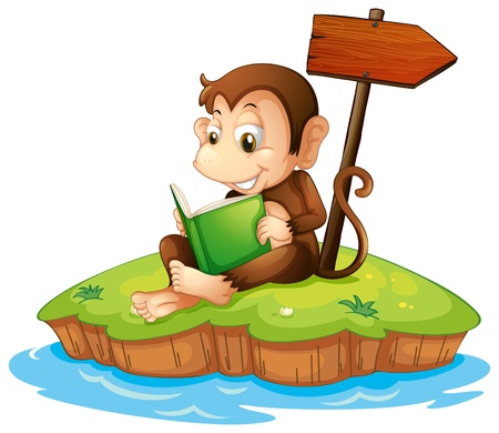 storyteller: Illustration of a monkey reading a book in an island on a white background