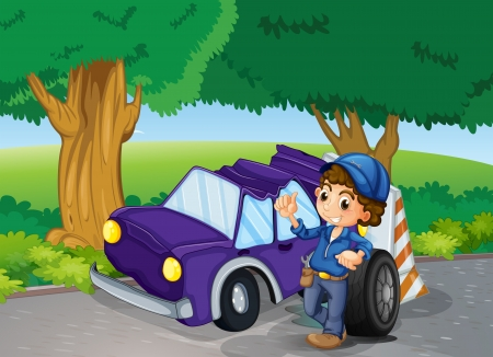 replacing: Illustration of a car crashed near the big trees Illustration