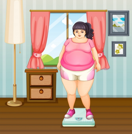 Illustration of a fat girl on a weighing scale